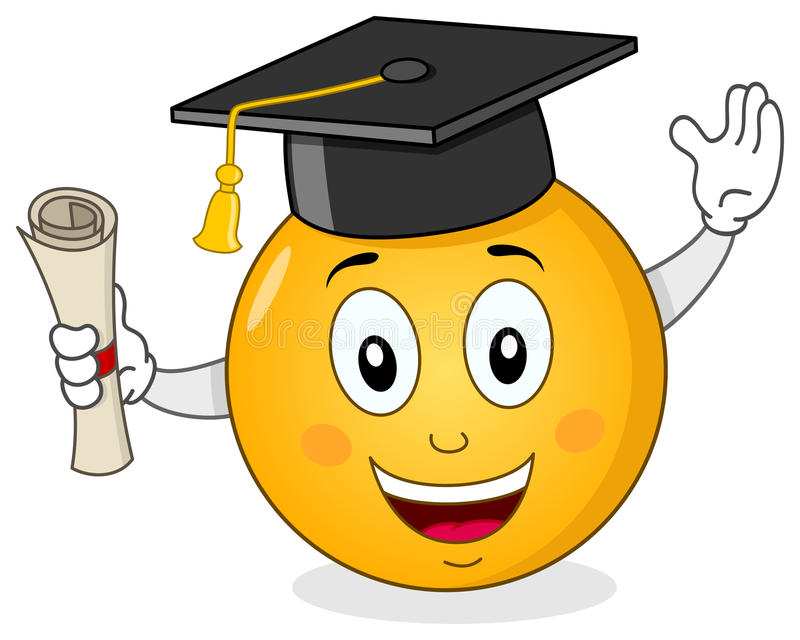 Smiley avec le chapeau et le diplôme d'obtention du diplôme illustration stock