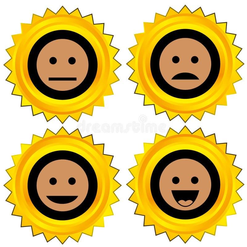 Smiley award icon set. Isolated stock illustration