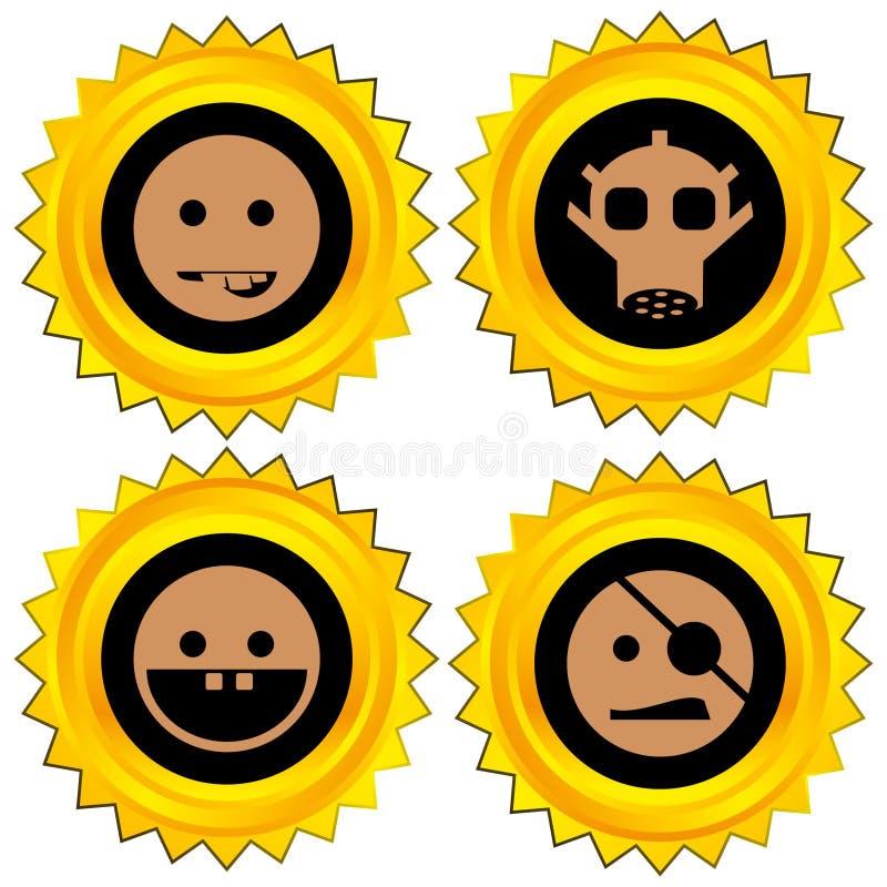 Smiley award icon set. Isolated vector illustration