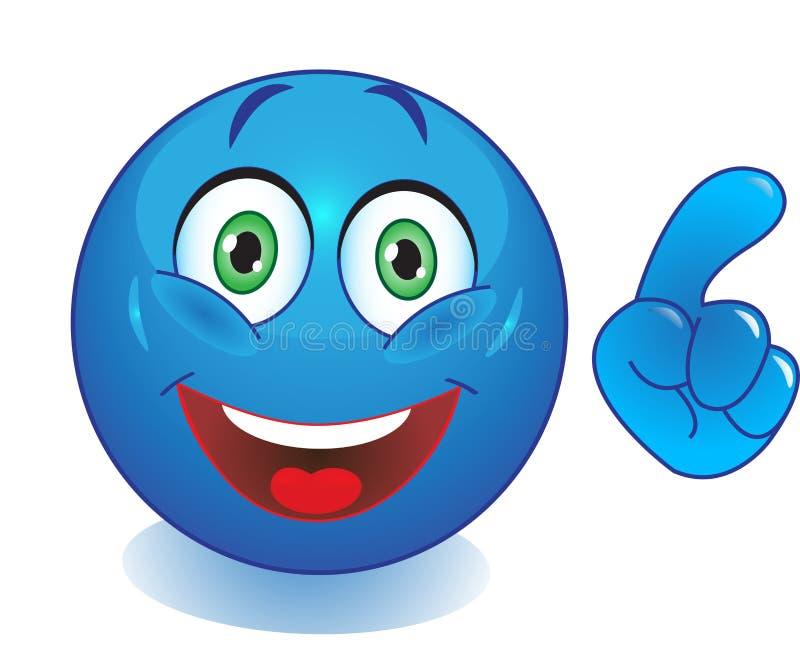 Smiley azul com uma mão que aponta o dedo ilustração royalty free