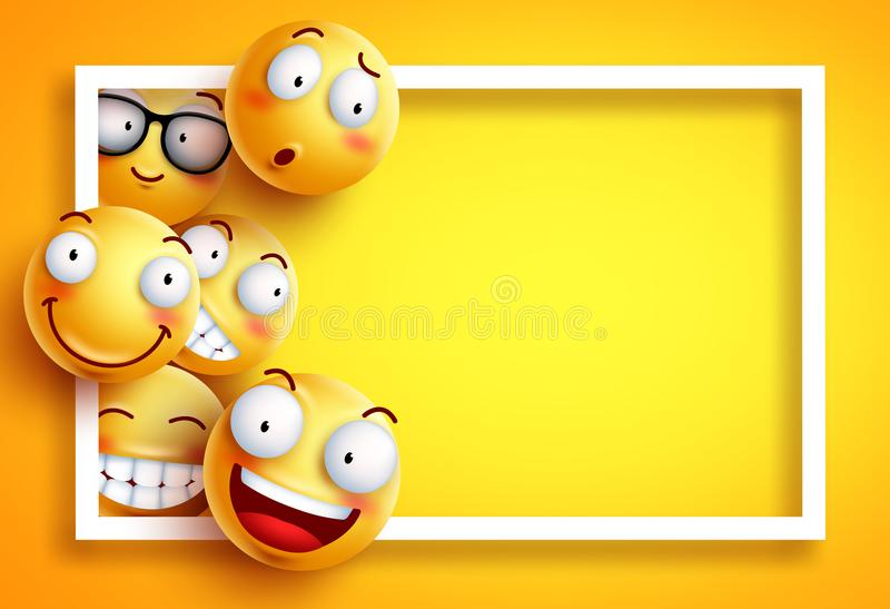 Smiley background vector template with yellow funny smileys or emoticons. And empty blank space for text and white frame in yellow background. Vector royalty free illustration
