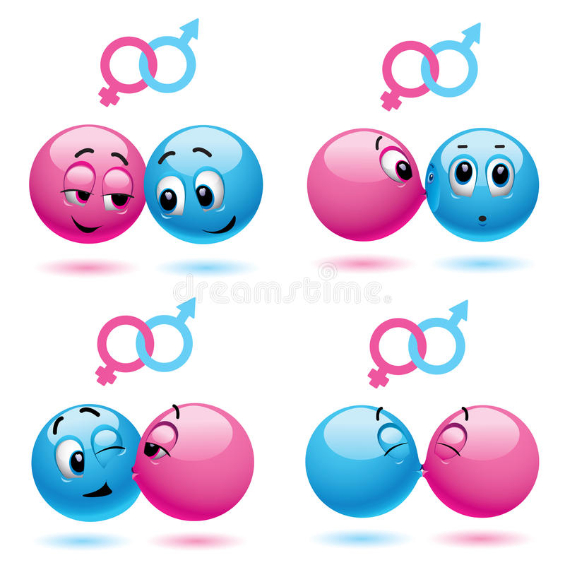 Smiley balls. Like male and female vector illustration