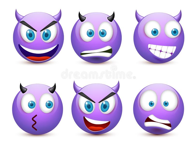 Smiley with blue eyes,emoticon set. Violet face with emotions. Facial expression. 3d realistic emoji. Sad,happy,angry royalty free illustration