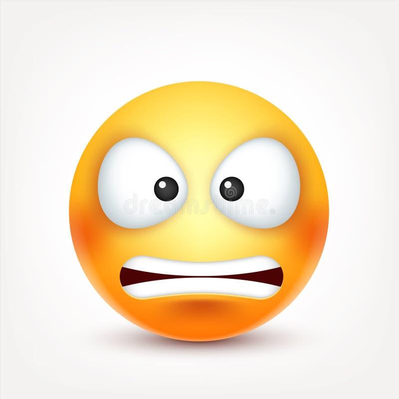 Smiley, cara con emociones Emoji realista Humor triste o feliz, enojado del emoticon Personaje de dibujos animados Ilustración de ilustración del vector