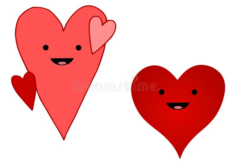 Smiley Cartoon Hearts. An illustration featuring your choice of simple cartoon hearts in red and pink vector illustration