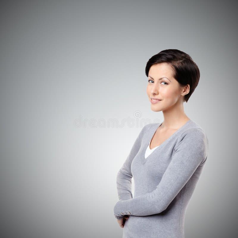 Smiley cheerful woman royalty free stock photos