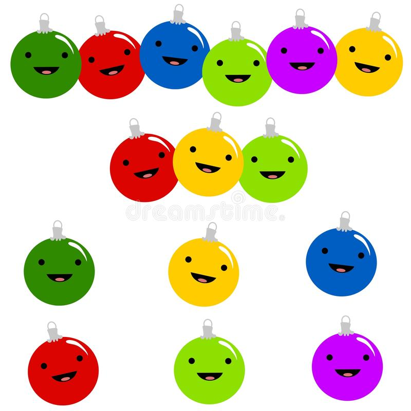 Smiley Christmas Ornaments. An illustration featuring an assortment of Christmas ornaments with smiling faces royalty free illustration