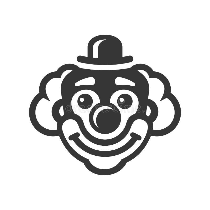 Smiley Clown Face Icon su fondo bianco Vettore illustrazione di stock