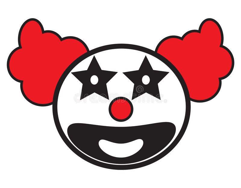 Smiley clown face icon vector. Isolated in white background royalty free illustration