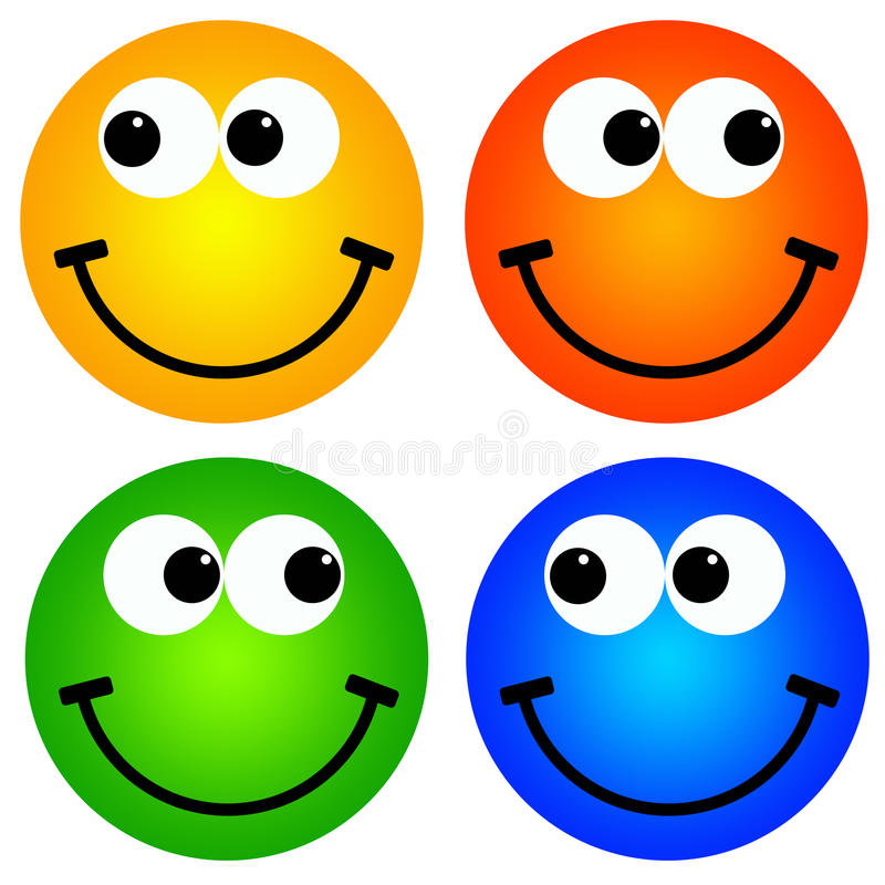 Smiley colorés illustration stock