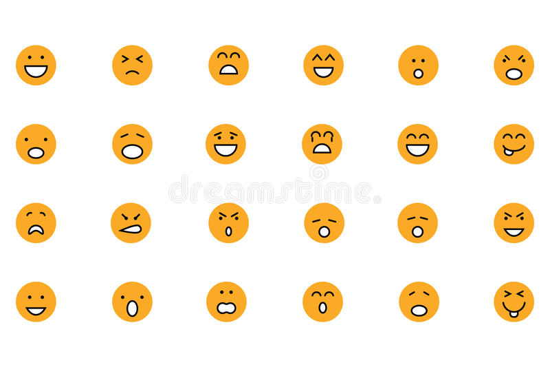 Smiley Colored Vector Icons 1 stock illustrationer