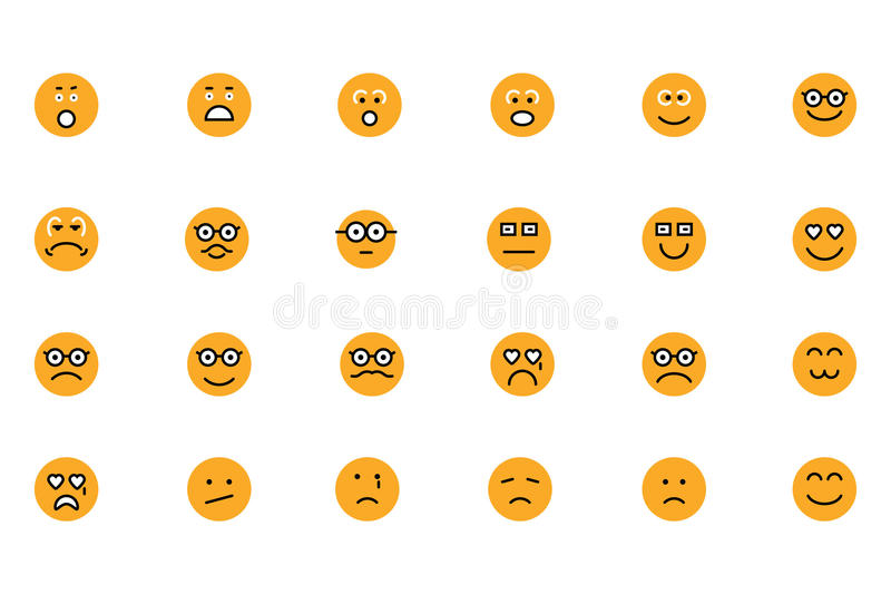 Smiley Colored Vector Icons 3 stock illustrationer