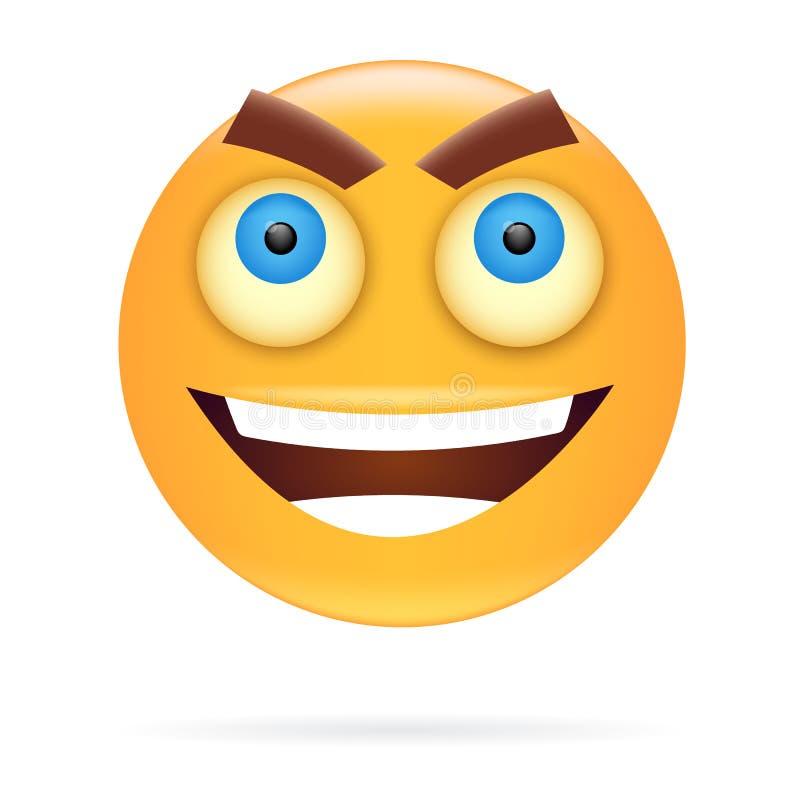 smiley Conception de personnages Style d'icône Illustr fâché de vecteur de visage illustration libre de droits