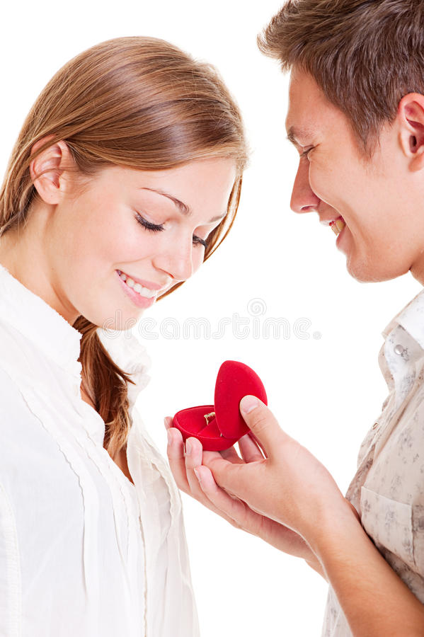 Smiley couple with ring royalty free stock images