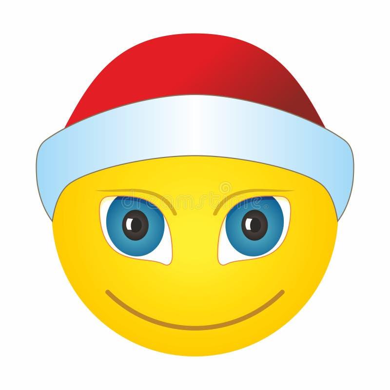 Smiley dans un chapeau de Père Noël, émoticon émoji avec le Père Noël qui fête Noël illustration libre de droits