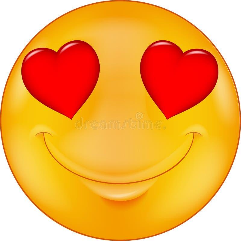 Smiley de la historieta en amor ilustración del vector