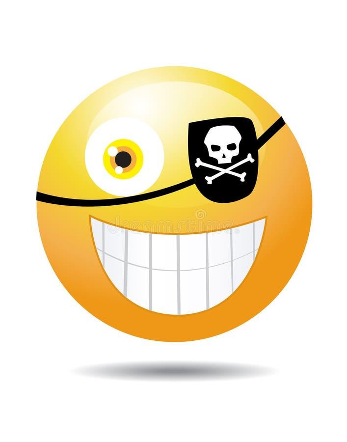 Smiley de pirate sur le blanc illustration de vecteur