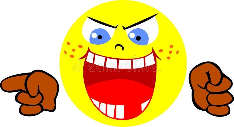Smiley de riso irritado Smiley que ri de alguém ilustração do vetor
