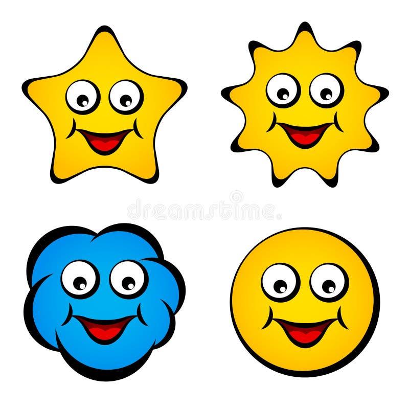 Smiley de sourire de nuage du soleil d'étoile de visage de dessin animé illustration de vecteur