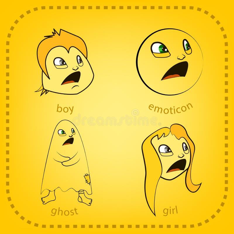 Smiley del vector Una pequeña criatura linda Expresa emociones conjunto imagen de archivo