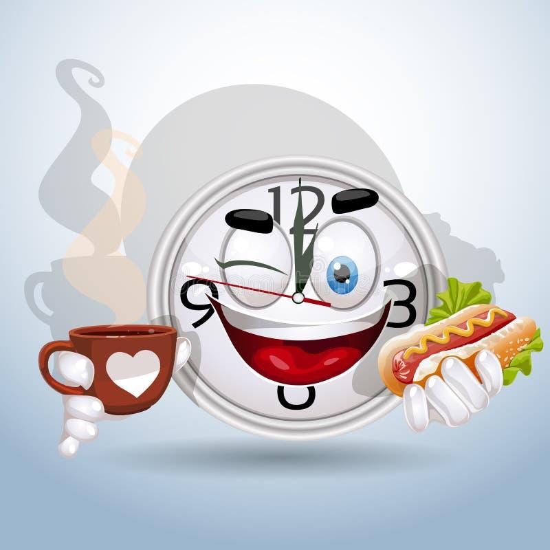 Smiley della vigilanza che gode dell'intervallo di pranzo illustrazione di stock