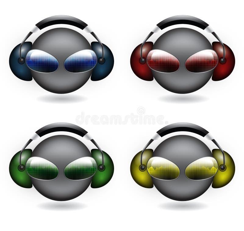 Smiley DJ stock de ilustración