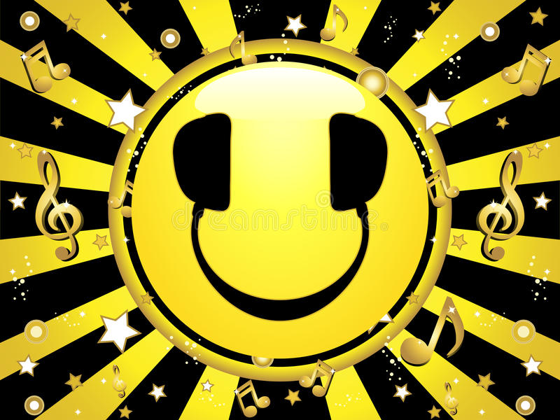 Smiley DJ Party Background royalty free illustration