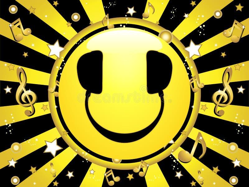 Smiley DJ Party Hintergrund lizenzfreie abbildung