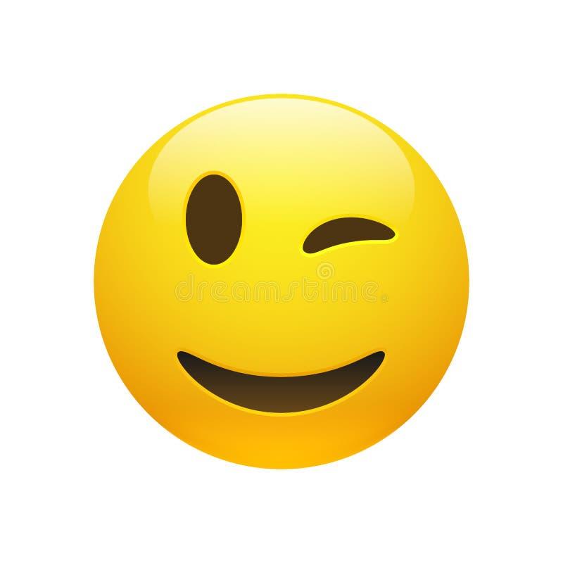 Smiley do amarelo de Emoji do vetor que pisc a cara ilustração do vetor