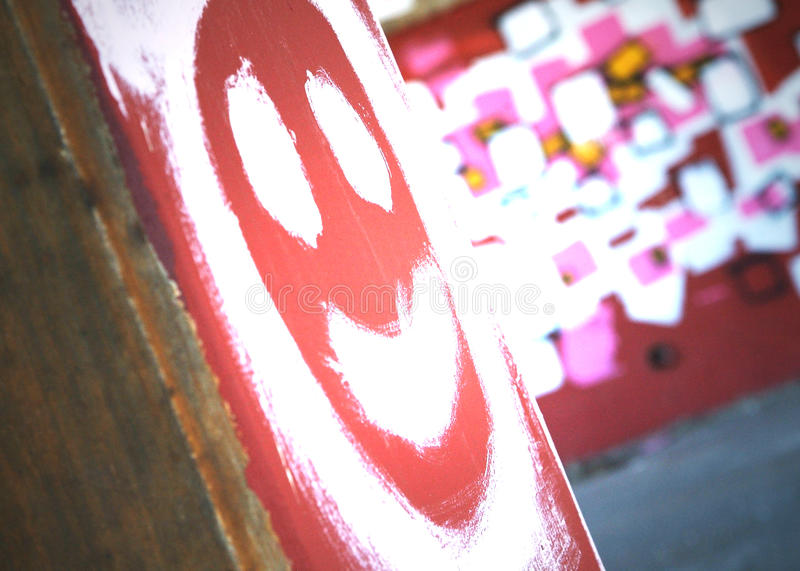Smiley dos grafittis fotografia de stock