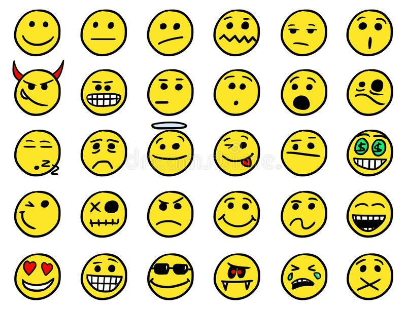 Smiley drawings icon set 1 in color stock illustration
