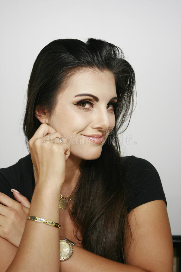Smiley dziewczyny pięknego makeup prowokujący spojrzenie fotografia royalty free