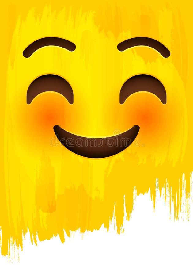 Smiley e cara de cora com os olhos felizes na parede amarela da pintura ilustração stock