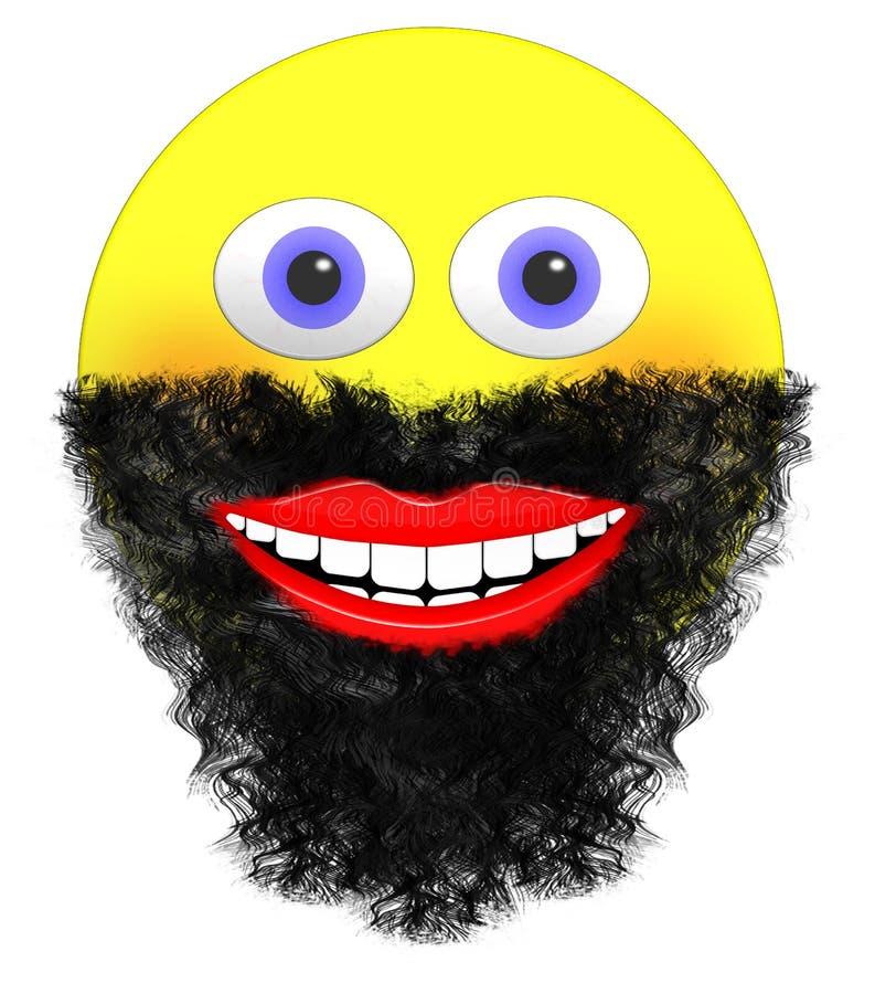 Smiley Emoji με τη μεγάλη γενειάδα και ένα στόμα χαμόγελου απεικόνιση αποθεμάτων