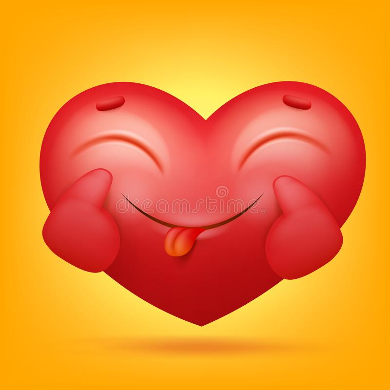 Smiley emoji heart cartoon character icon vector illustration