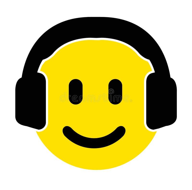 Smiley emojiframsida med en gullig hörlurar med mikrofon royaltyfri illustrationer