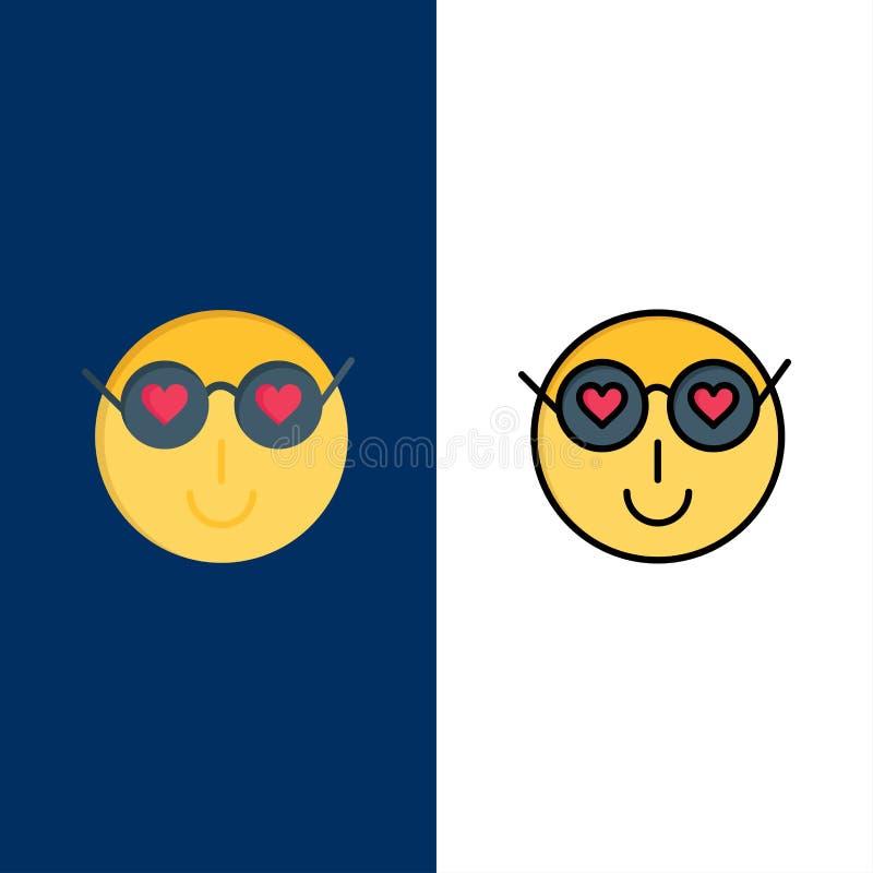Smiley, Emojis, любовь, милая, значки потребителя Квартира и линия заполненный значок установили предпосылку вектора голубую бесплатная иллюстрация