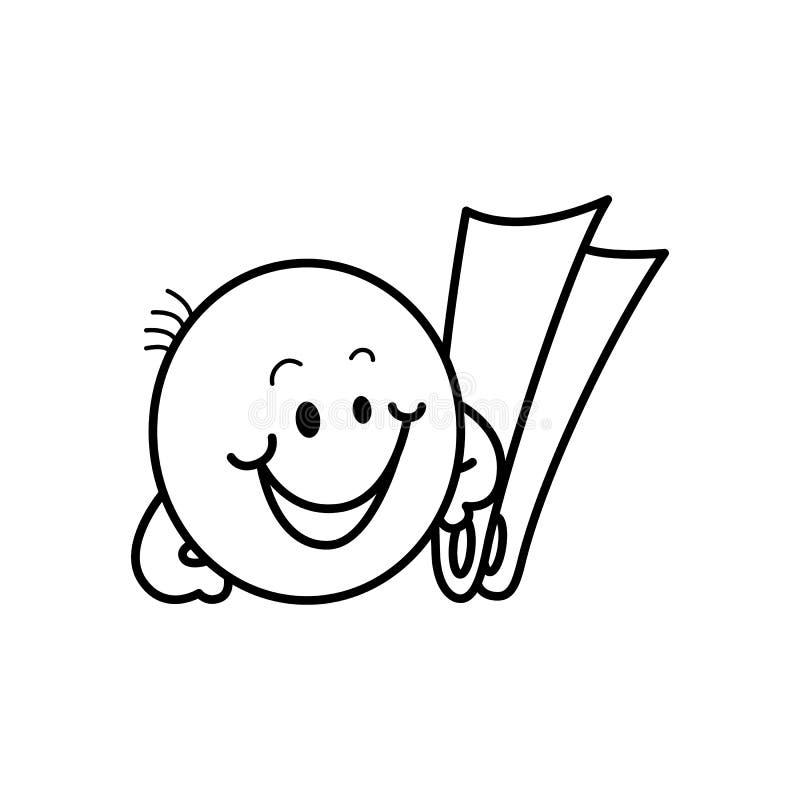 Smiley emoticon με τα βατραχοπέδιλα κατά τη διάρκεια των θερινών διακοπών που απομονώνονται στο άσπρο υπόβαθρο απεικόνιση αποθεμάτων