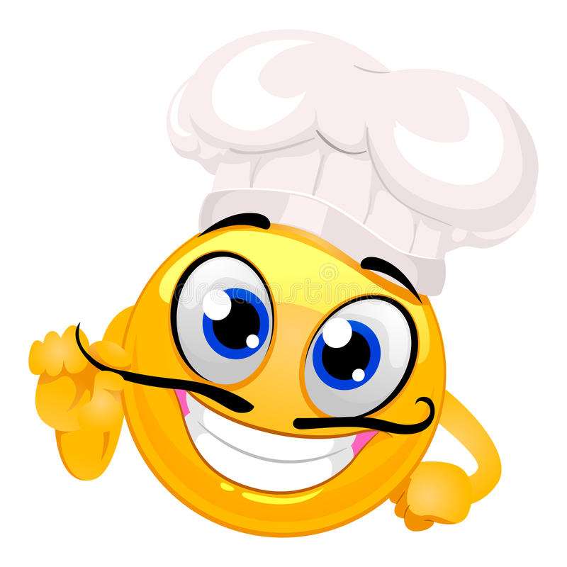 Smiley Emoticon as Chef with Mustache vector illustration