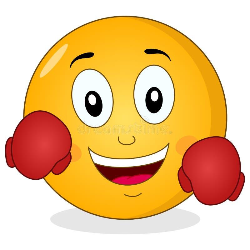 Smiley Emoticon bonito com luvas de encaixotamento ilustração royalty free