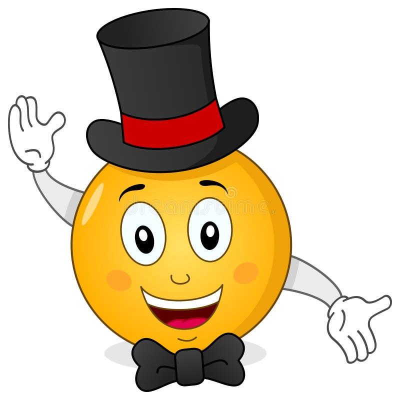 Smiley Emoticon com chapéu alto & laço ilustração royalty free