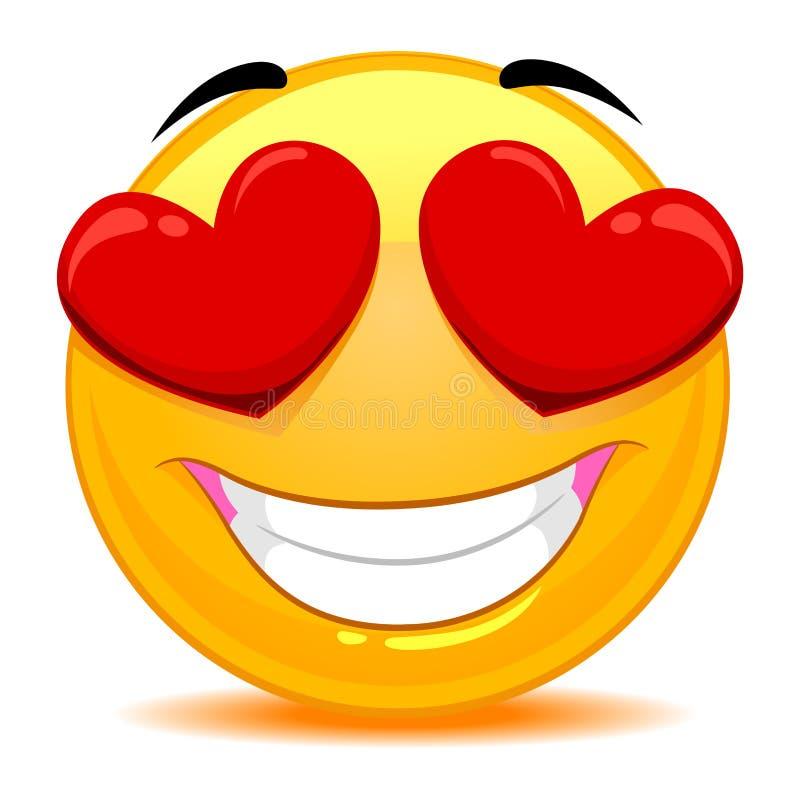 Smiley Emoticon Feeling In förälskelse vektor illustrationer