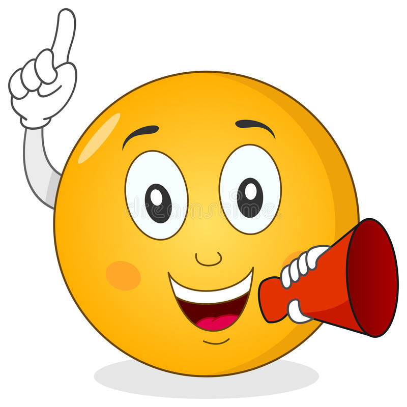 Smiley Emoticon Holding Red Megaphone. A happy cartoon smiley emoticon character smiling and holding a red megaphone, isolated on white background. Eps file vector illustration