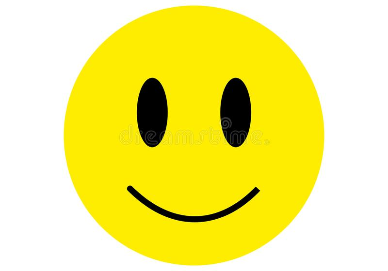 Smiley emoticon icon flat design yellow black color royalty free illustration