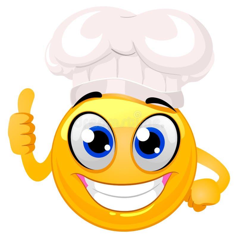Smiley Emoticon jako szefa kuchni kapelusz robi ok ręka znakowi ilustracja wektor