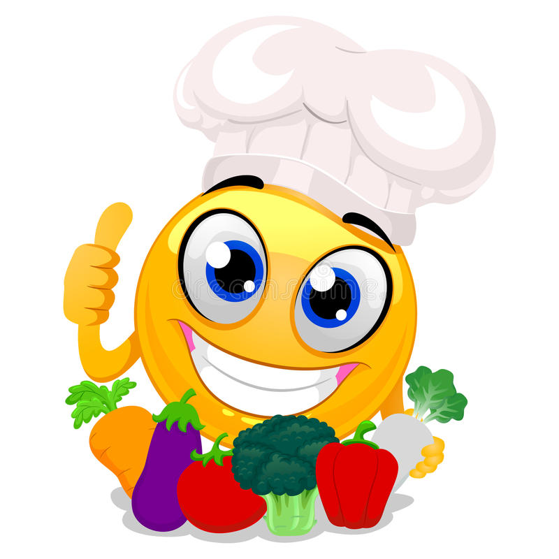 Smiley Emoticon jest ubranym szefa kuchni mienia Kapeluszowych warzywa royalty ilustracja
