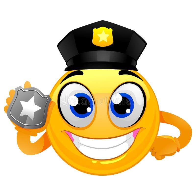 Smiley Emoticon policjant trzyma odznakę ilustracja wektor