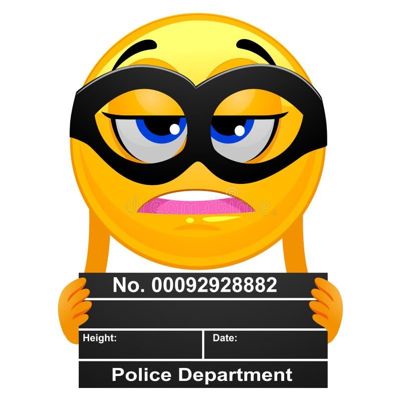 Smiley Emoticon Prisoner prenant une photo de détenu illustration de vecteur