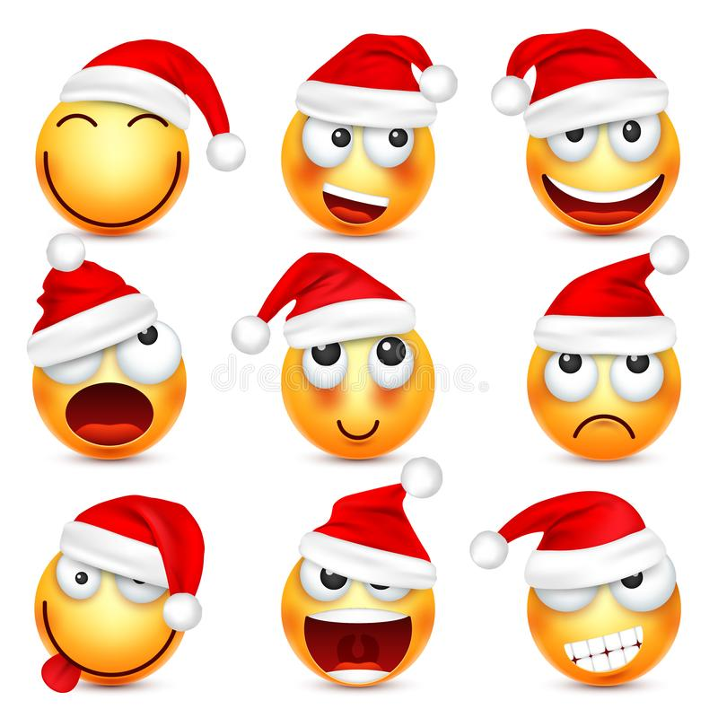 Smiley,emoticon set. Yellow face with emotions and Christmas hat. New Year Santa.Winter emoji. Sad happy angry faces stock illustration