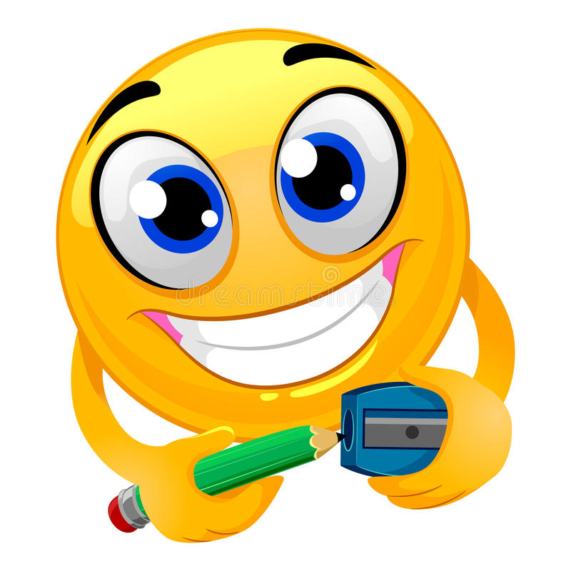 Free Smiley Emoticon Sharpening A Pencil Royalty Free Stock Photography - 80658797